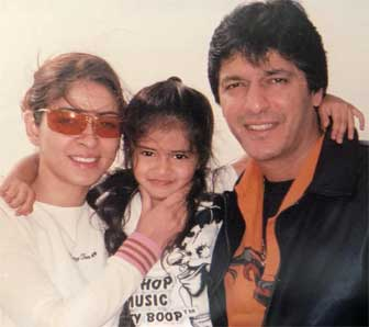 Little Ananya Panday with her Father and Mother